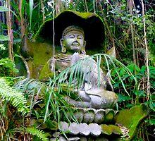 Buddha statue and green by Amanda Gazidis