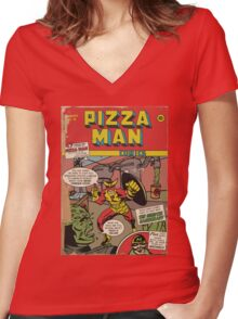 Golden Age Pizza Man Women's Fitted V-Neck T-Shirt