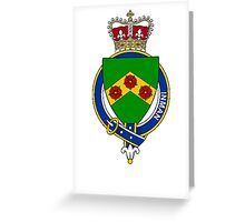 Coat of arms (family crest) for last-name or surname Inman (England) . Heraldry banner for your name. Greeting Card