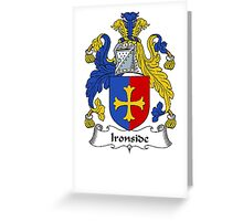 Coat of arms (family crest) for last-name or surname Ironside . Heraldry banner for your name. Greeting Card