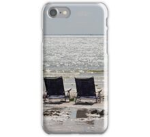 Two beach chairs on a sand bar iPhone Case/Skin