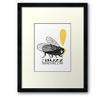 Thinker fly, I buzz therefore I am Framed Print