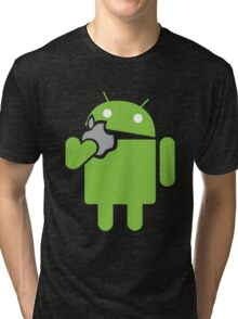 Android eats an Apple Tri-blend T-Shirt