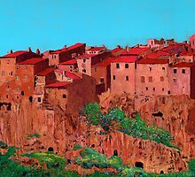 Pitigliano Village by Allan P Friedlander
