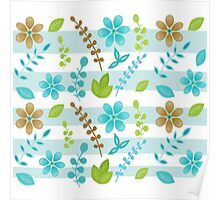 Floral Design with Stripes Poster