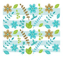 Floral Design with Stripes Photographic Print