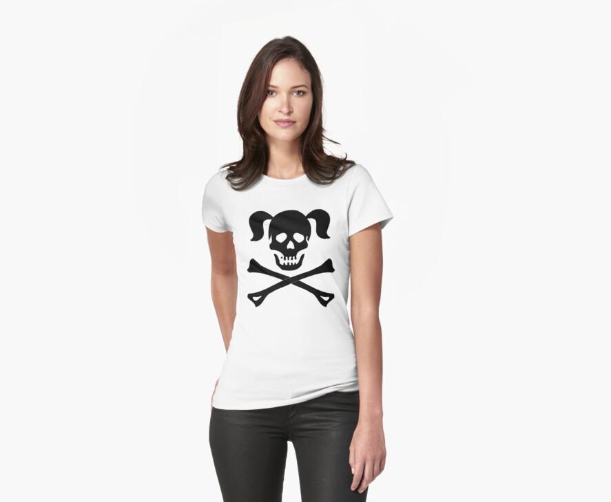 Crossbones Skull Pigtails by SportsT-Shirts