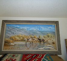 Oil Painting of a Pack Train in Nevada by Elaine Bawden