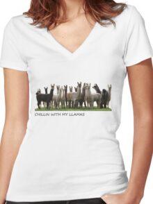 llamas  Women's Fitted V-Neck T-Shirt