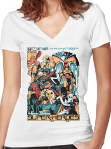 HANNA-BARBERA SUPER HEROES Women's Fitted V-Neck T-Shirt