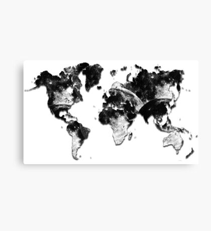World Map - Moon Crater Canvas Print