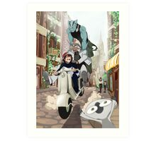 Kekkai Sensen - Leonardo, Zapp and Zed on vespa Art Print
