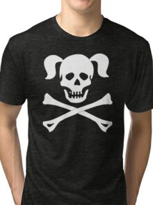 Skull Crossbones Pigtails Tri-blend T-Shirt