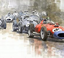 Red Car Ferrari 801Mike Hawthorn German GP 1957  by Yuriy Shevchuk