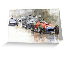 Red Car Ferrari 801Mike Hawthorn German GP 1957  Greeting Card