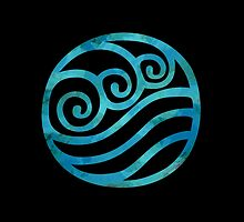 Water Tribe Watercolor Symbol (on black) by timelesslord