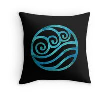 Water Tribe Watercolor Symbol (on black) Throw Pillow