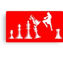 Kickboxing Chess Jumping Knee White  Canvas Print