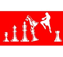Kickboxing Chess Jumping Knee White  Photographic Print
