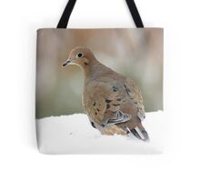 Mourning dove in the snow Tote Bag