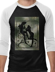 Daisies, Silhouette and Music Scraps  Men's Baseball ¾ T-Shirt