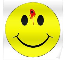 Smiley face shot in head shirt Poster