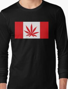 Canadian Flag Marijuana Leaf Long Sleeve T-Shirt