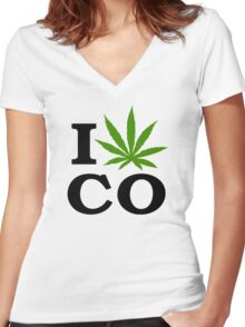I Marijuana Colorado Women's Fitted V-Neck T-Shirt