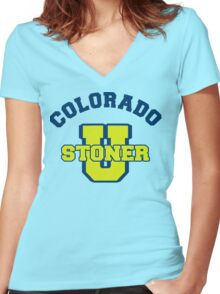 Colorado Cannabis Women's Fitted V-Neck T-Shirt