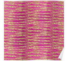 Gold Pink Glittery Stripes   Poster
