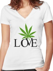 Love Marijuana Women's Fitted V-Neck T-Shirt