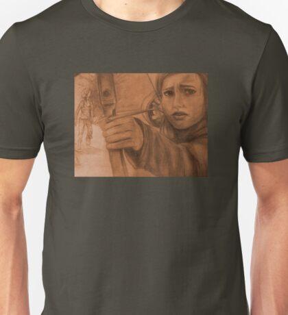 Ellie in Winter - Sepia Unisex T-Shirt