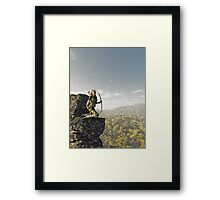 Blonde Female Elf Archer above the Forest Framed Print