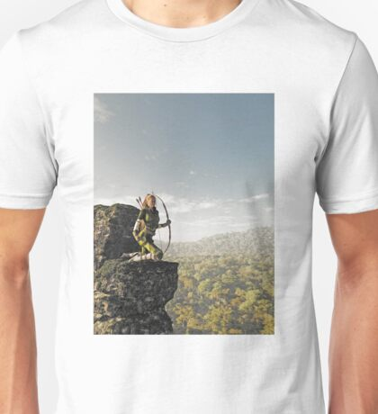 Blonde Female Elf Archer above the Forest Unisex T-Shirt