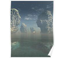 Sailing Ship and Giant Sea Stacks Poster