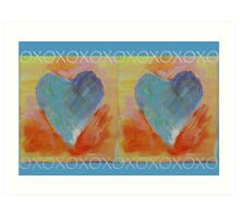 Two Painted Hearts with XOXO Art Print