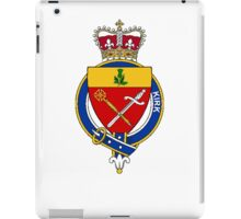 Coat of arms (family crest) for last-name or surname Kirk (Scotland) . Heraldry banner for your name. iPad Case/Skin
