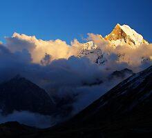 Machhupuchhare sunset, Nepal. by Andy Newman