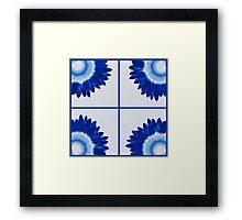Sunflower Squares (Delft blue) Framed Print