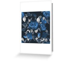 Crazy roses. Blue Greeting Card