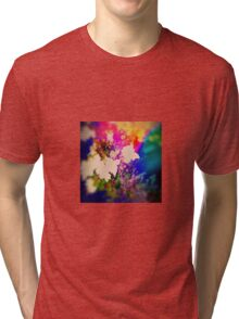 Summer Flower Basket Drenched in Rainbow Tri-blend T-Shirt