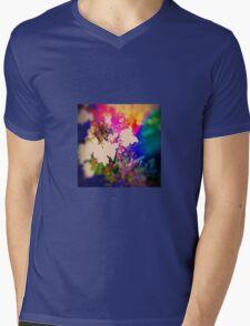 Summer Flower Basket Drenched in Rainbow Mens V-Neck T-Shirt