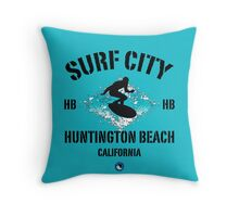 Surf City - Huntington Beach Throw Pillow