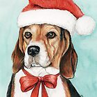 Christmas Beagle by Charlotte Yealey