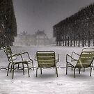 Chairs under the snow, Paris by Laurent Hunziker
