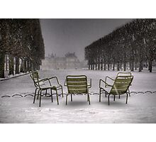 Chairs under the snow, Paris Photographic Print