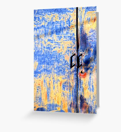 Rusted blue and yellow door Greeting Card