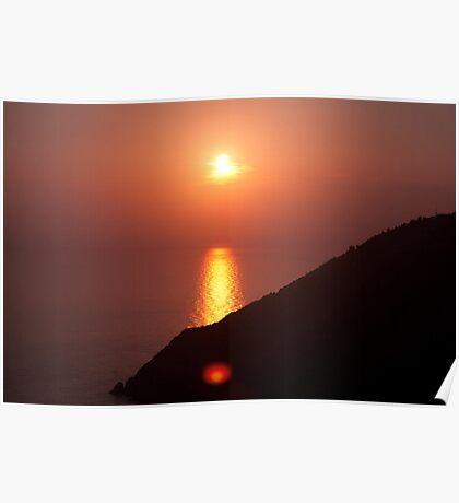 Burning Sea,Riomaggiore,Italy. Poster