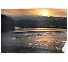 Sunset over a frozen reservoir Poster