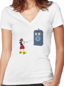 Sealing the TARDIS Women's Fitted V-Neck T-Shirt